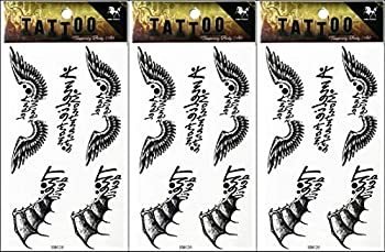 PP TATTOO 3 Sheets Temporary Tattoos Waterproof Fake Tattoo Realistic Bird Angel Wings Vampire Bat Animal Shaped Body Tattoo Stickers for Men Adults Boys Guy
