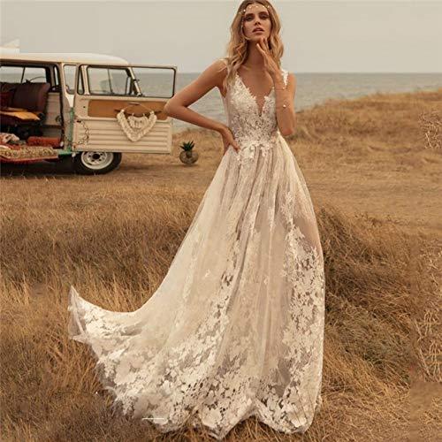 SWEETQT Braut Brautkleid Deep V Neck Boho Brautkleider Country Lace Applique Backless Brautkleid Sweep Train Lace Kleid Abendkleid