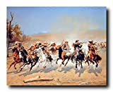 Western Wall Decor A Dash for the Timber Cowboy Shoot Out Southwest Art Print Poster (16x20)