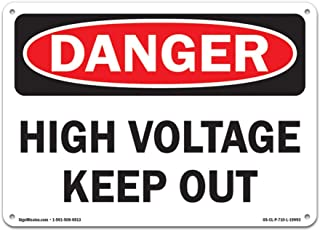SignMission OSHA Danger High Voltage Keep Out | Plastic Sign | Protect Your Business, Construction Site, Warehouse & Shop Area |  Made in The USA, Size: 12
