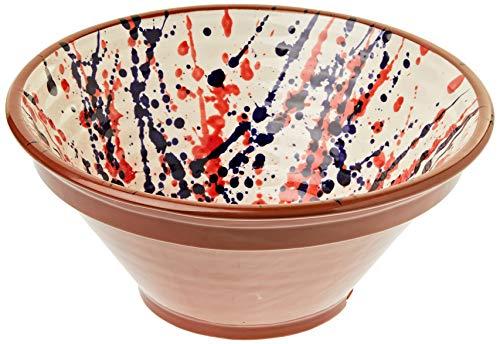 Amazing Cookware Bol côtelé Splatter en Terre Cuite, crème/Bleu/Rouge, 28 cm
