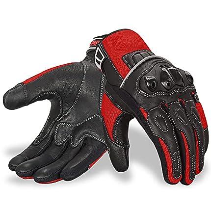 Oro Biker Guantes de Moto, Cuero Premium Transpirable Nudillos Protección pantalla táctil Guantes Carreras ATV Guantes (X-Grande, Negro/Rojo)