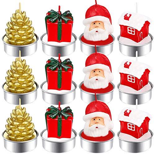 CHEPL 12 Stücke Weihnachten Teelicht Kerzen Handgemachte Zarte Weihnachtsmänner Schneemann Baum Kerzen für Weihnachten Haus Dekoration Geschenke
