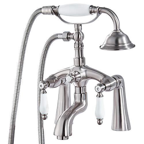 Aolemi - Grifo monomando para bañera (níquel cepillado, 2 agujeros, 6 pulgadas, centro de 6 pulgadas, con boquilla de ducha de mano, doble palanca, grifo mezclador Victoria Vintage forma de teléfono
