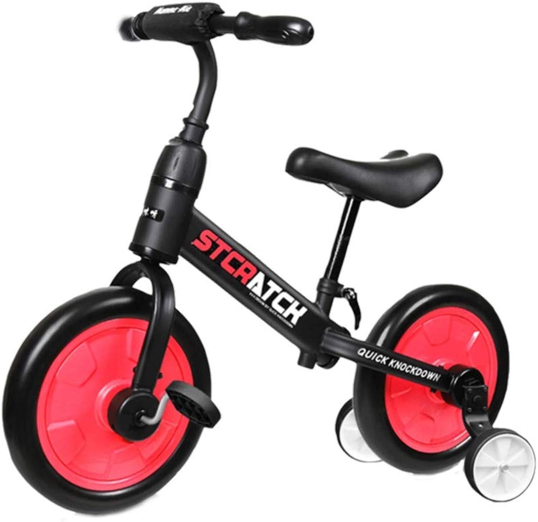 XIAOME Bambino Bilanciare Le Biciclette Senza Pedali,2 in 1 Equitazione Formazione Sedile Regolabile Ruota Completamente  usa Bambino Bici Walker per 1-3-6 Anni-Rosso-b