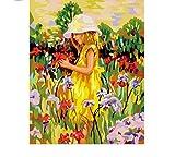 Pintura al óleo por número kit Pintar por números Lienzo Decoración para el hogar Niña de aceite Jardín de flores Cuadro Colorido Pájaro volador Oscuro Pintado a mano Arte Regalo de dibujo Recuerdo D