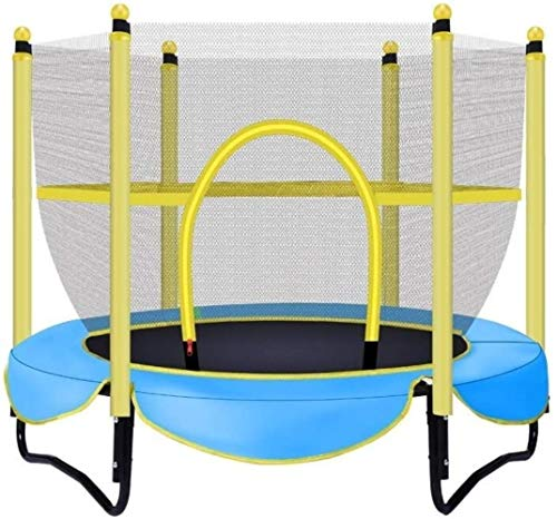JISHIYU Children's Trampoline Children's Trampoline Bouncing Indoor Children's Bed with Protective Cover Family Jump Bed Spring Section (foot Bent) Diamet (Color : Blue)
