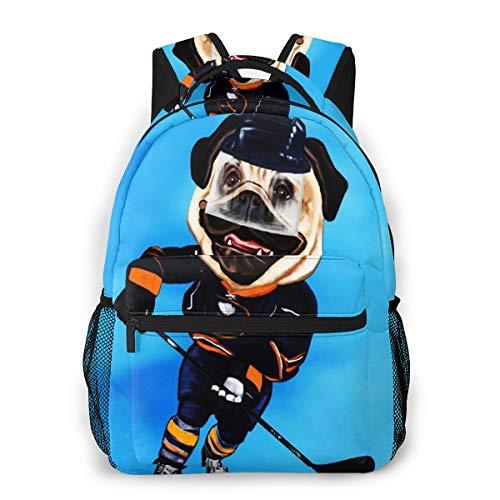 Rucksack Männer Und Damen, Laptop Rucksäcke für 14 Zoll Notebook, Eishockey Mops Mit Rochen Stick Kinderrucksack Schulrucksack Daypack für Herren Frauen