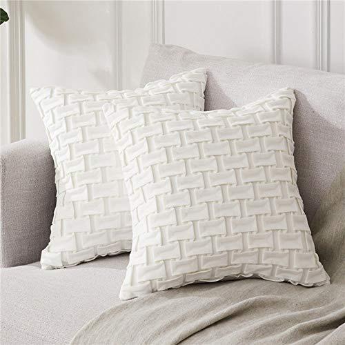 LJQLXJ KJJYUK Oreiller canapé Couverture de Coussin de Grille de Luxe décorative horizontale oreiller carré Home Decor pour la Voiture canapé-Lit, Crème, Set de 2,40cm x 40cm (16x16in)