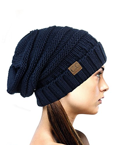 NYFASHION101 Oversized Baggy Slouchy Thick Winter Beanie Hat, Navy