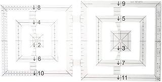 Régua de Patchwork EXCEART Acrílico Duplo Quadrado Transparente Modelo Régua Ferramenta de Costura para Medida de Corte de...