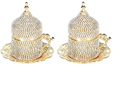 2 count Gold Turkish Coffee Cup Set Saucers Holders