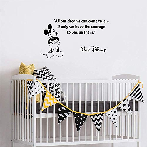 Mickey Mouse Muursticker Decal gepersonaliseerde Mickey Mouse Wall Stickers, Inspiratie Vinyl Wall Quotes voor thuis 69.5 x 39.8 cm