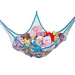 blue storage hammock for stuffed animals