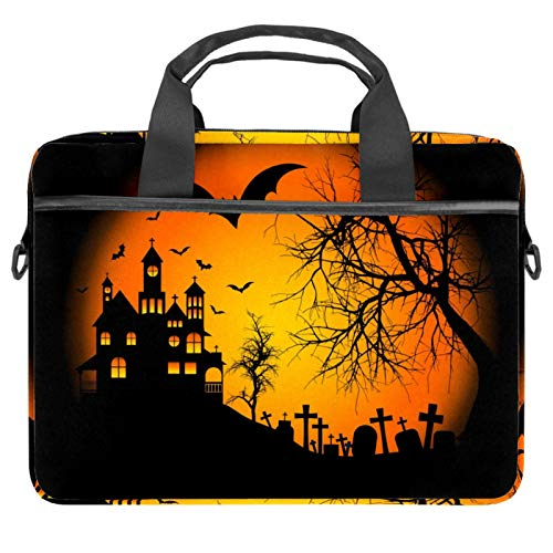 Halloween Background Laptop Bag Messenger Bag Slim Briefcase with Crossbody Shoulder Bag Computer Bag Computer and Tablet Carrying Case for 13.4-14.5In