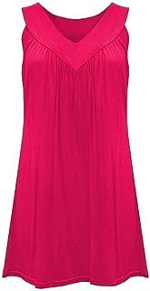 Women V-neck Sleeveless Mini Dress, Ladies Solid Ruffles Tops Blouses Short Dress