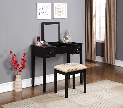 Linon Home Dcor Linon Black Butterfly Stool Vanity Set with Bench, 36'w x 18'd x 30'h,