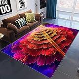 Großflächiger Teppich mit traditionellem Design Mehrschichtige große Blume des roten rosa gelben Farbverlaufs 160*200CM(5'3''x6'6'')