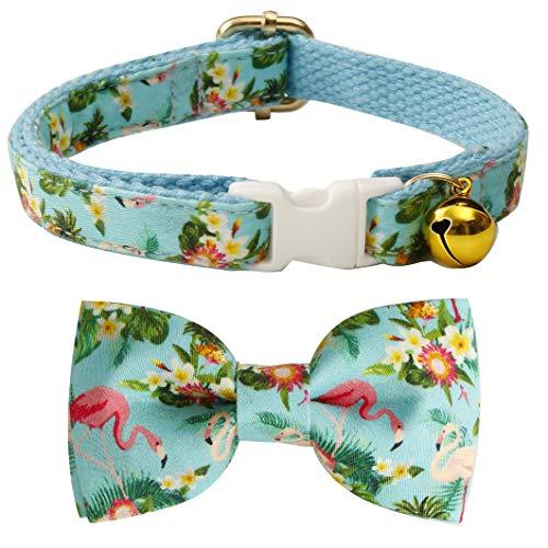 csspet Katzenhalsband mit Schleife und Glöckchen, Sicherheitskunststoffschnalle für Katzen, 8'-13' Neck, Flamingo