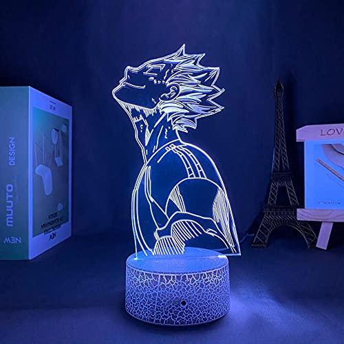 3D Led Night Light Talbe Illusion Lamp Haikyu Bokuto Decorative Luminaire Manga Ideal for Room Child Birthday Present Christmas-Crack Base_with Remote