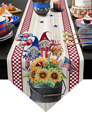 Patriotic 4th of July Gnomes Table Runners Dresser Scarf Cotton Linens Independence Day Decorations for Holiday Party Kitchen Home Dining 13x70 inches Long-Americana Flag Red White Check Blue Stars