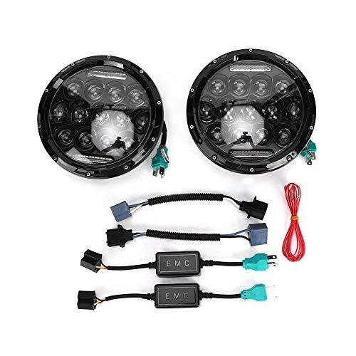 Terisass Faros delanteros para automóviles 2 piezas 10-30V 6500K Faros delanteros LED para automóviles 180W Luces de conducción de automóviles integradas de haz bajo y alto Bombillas universales