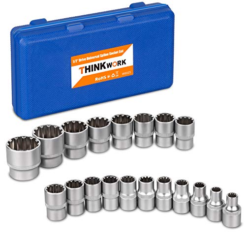 """1/2"""" Drive Universal Spline Socket Set, THINKWORK 19 Pieces Bolt Extractor Tool Set, Nut Removal Tool, Works with SAE, Metric, Partially Rounded, 6 pt, 12 pt, Square and Star Sizes, Cr-V steel"""
