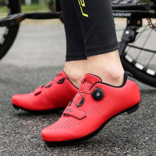 Herren Rennrad Fahrradschuhe Spin Schuhe mit kompatiblen Stollen Peloton Schuh mit SPD und Delta für Herren Lock Pedal Fahrradschuhe (Red,EU42-UK8.5)