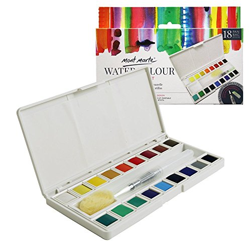 Mont Marte Water Color Paint Set-18 Assorted Colors with 1 Refillable Water Brush, Natural Sponge, Ceramic Dish and Built-in Palette