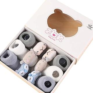 3 Pares Calcetines Recien Nacido Niño Calcetines de Recién Nacido Calcetines Bebe Niña Invierno,Calcetines de Recién Nacido/Patucos Bebé de Algodón