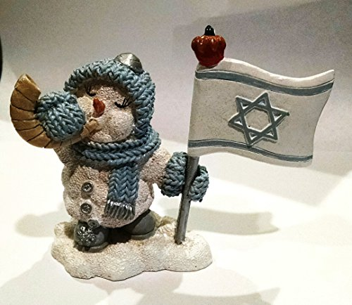 The Encore Group Inc. Rosh Hashanah Snow Buddies Snowman Figurine With Israel Flag