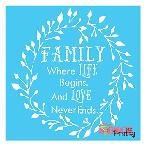 """Stencil -Primitive Family DIY Rustic Sign Best Vinyl Large Stencils for Painting on Wood, Canvas, Wall, etc.-M (13"""" x 13.75"""")  Brilliant Blue Color Material"""