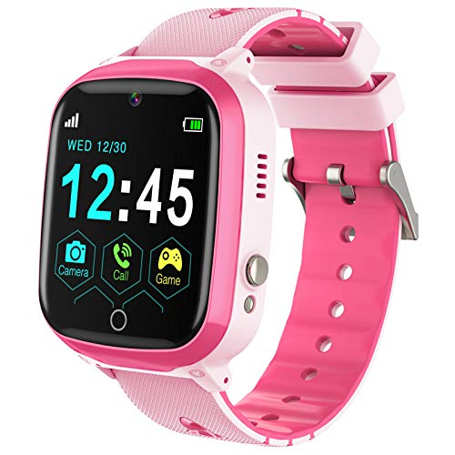 Smart Watch for Kids, Kids Smart Watch for Girls Boys with Call -Kids SmartWatch With Camera, Watches for kids with Touch Screen,SOS,Music Player,Calculator, Flashlight, Age 4-12(Pink)