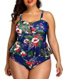 Yonique Plus Size Swimsuits for Women Peplum Tankini Tops High Waisted Tummy Control Two Piece Bathing Suits Blue 18plus