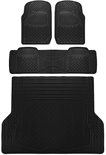 OxGord 4pc Rear Set Diamond Rubber Floor Mats, Universal Fit Mat for SUVs Vans- Rear Driver Passenger Side, Rear Runner and Trunk Liner Black