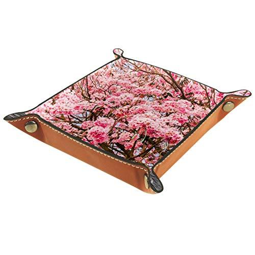 rodde Bandeja de Valet Cuero para Hombres - Piedra Cereza Rosa Floral - Caja de Almacenamiento Escritorio o Aparador Organizador, Captura para Llaves,Teléfono,Billetera