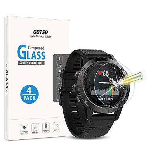 OOTSR (4 Stück) Panzerglas Schutzfolie für Garmin Fenix 5, Bildschirmschutzfolie für Garmin Fenix 5 [Kratzfest] [Blasenfrei] (Nicht kompatibel mit Anderen Fenix 5 Smartwatch)