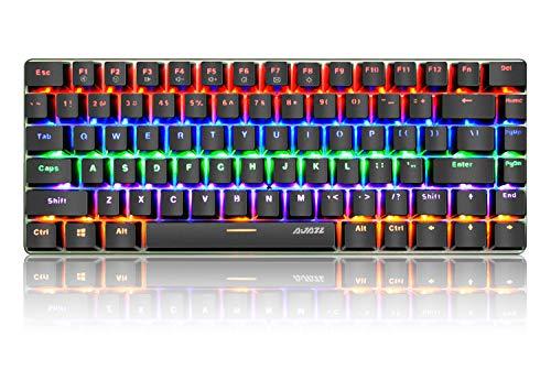 PC Teclado Mecánico para Juegos, LED Mezclado con Retroiluminación USB con Cable de 82 Teclas, Anti-Fantasma, Teclado Ergonómico de Computadora Jugar Juegos y Tipeos(Switches Azul, Negro)