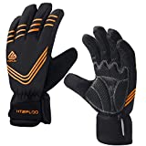 HTZPLOO Winter Gloves for Men Waterproof&Windproof with Shock-Absorbing Pad Anti-Slip Insulated Warm Gloves for Cycling Running Hiking Skiing (Orange-Full Finger, X-Large)
