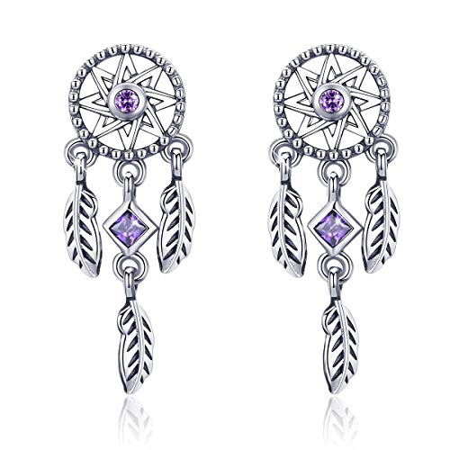FOREVER QUEEN Jahrgang Damen Traumfänger Ohrringe 925 Sterling Silber Ohrstecker mit lila Zirkonia Geschenk für Mädchen und Frauen