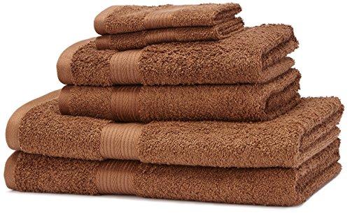 AmazonBasics – Juego de toallas (colores resistentes, 2 toallas de baño, 2 de manos y 2 para bidé), color marrón