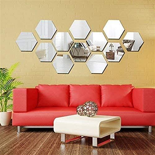 Moda Conjunto de pegatinas de pared de espejo, espejo hexagonal Arte removible DIY DIY Decorativo Hexagonal Acrílico Hoja de espejo de espejo de plástico Azulejos para el hogar Sala de estar Dormitori