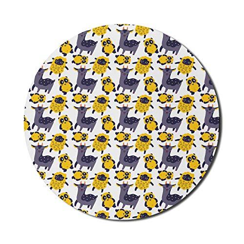 Zoo Mouse Pad für Computer, mexikanische Stammes-Alpaka-Kamele Lustige kindliche Schafe und Pandabären Design, rundes rutschfestes dickes Gummi Modern Gaming Mousepad, 8 'rund, Senf und lila grau