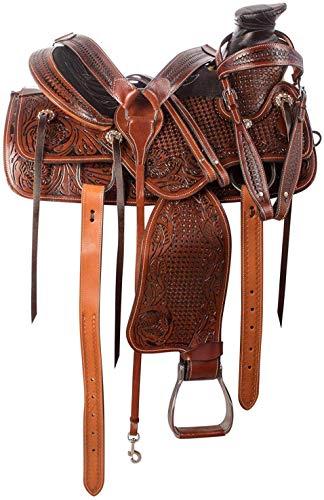Western Riding Wade Tree A Tenedor Premium Western Leather Roping Ranch Trabajo Caballo Sillín Tamaño 14 a 18 pulgadas