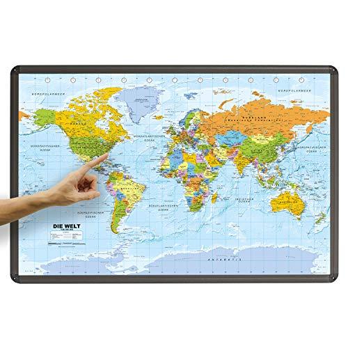 ORBIT Globes & Maps - Weltkarte - Kork Weltkarte auf Pinnwand mit Aluminiumrahmen 90 x 60 cm, deutsch mit Fähnchen und Pins sowie Befestigungsmaterial