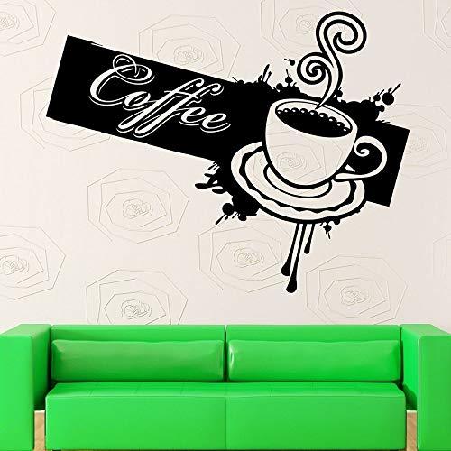 HGFDHG Adhesivo de Pared, calcomanía de Vinilo, Taza, cafetería, cafetería, Bar, Cocina, decoración Interior, Ventana, calcomanía, Tiempo de relajación, Arte Mural