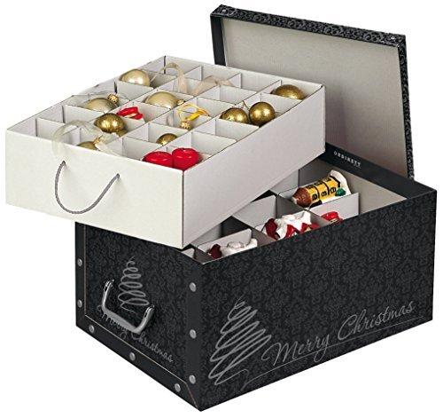 Kreher Weihnachtlicher XL Deko Karton mit Einsätzen für ca. 40 Weihnachtskugeln. Aus stabiler Pappe mit Griffen aus Kunststoff. In Schwarz mit