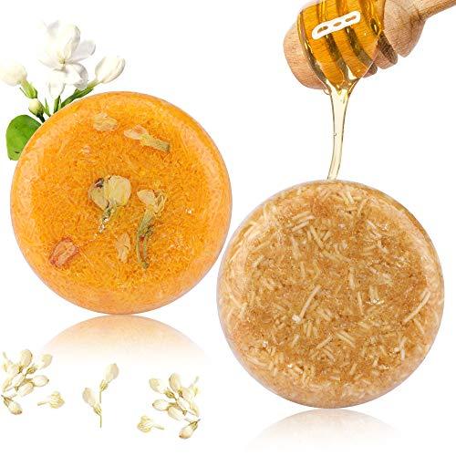 2PCS Barre de Shampooing, Phogary Savon pour cheveux (Jasmin + miel) Divers parfums Shampooing pour essences végétales naturel pour cheveux secs et abîmés
