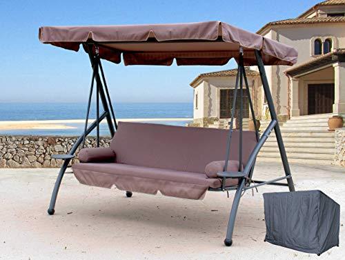 QUICK STAR Hollywoodschaukel 3 Sitzer Klappbar mit Liegefunktion Schaukel Gartenliege Triumph Taupe inkl. Schutzhülle