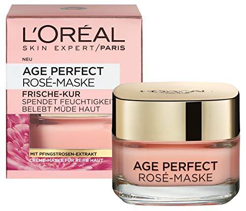 L'Oréal Paris Age Perfect Golden Age Rosé-Maske, Frische-Kur mit Pfingstrosen-Extrakt für reife Haut, belebende Crème-Maske für rosig strahlenden Teint, 50ml